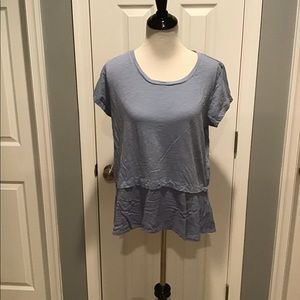 Style & Co Blue Shirt with Flare Bottom